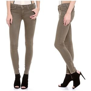 Mother The Looker Ankle Zip Skinny Jeans Olive